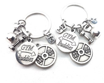 Couple Keychain GYM Buddies & Weight Plate 45lbs+45lbs Initial.BFF Gift,Fitness,Crossfit,Best Friends Gift,Gym Buddies Gift,Partner Gift