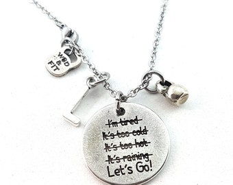 Necklace Lets Go! Necklace Lets Go! I'm Stronger than my Excuses Weight & Initial Leter.Motivational Gift,Bodybuilding,Gym Gifts,Crossfit