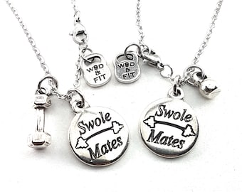 Couple Swole Mates Necklace & Weight.Fitness Girl,Sisters Gift,Best Sister,BFF,Gifts for sisters,Sisters jewelry,Sisters of battle,Crossfi