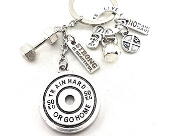 Keychain Kelly Workout Train Hard or Go Home,No Pian No Gain,Weigth Plate,Kettlebell,Gym,Weightlifting Jewelry Bodybuilding,Dumbbell,Fitness
