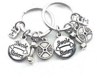 Couple Keychain Swole Sisters,Dumbbell,Weight Plate.Custumize Word,BFF Gift,Fitness,Gym Friends,Best Friends Gift,Sisters Gift,Love Sister
