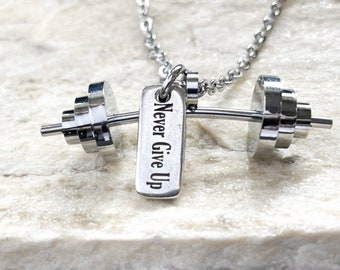 Gym Necklace Powerlifting Workout Gift Barbell Motivation gift - Bodybuilding - Fitness Gift - weightlifting - Exercise Gift - Wod & Fit