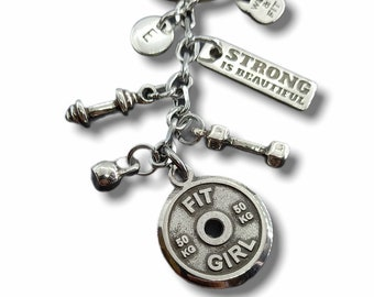 FIT GIRL Keychain Workout Gifts -Girl Power - Exercise gift - Gym gifts - fitness jewellery- Weigth Lifter - Trainer gift by Wod & Fit