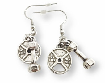 Gym Earrings Weight Plate Small 45lbs & Dumbbell Earrings - Fitness - WeightLifting - Barbell - Crossfit Girl Earrings - Bodybuilding Gift
