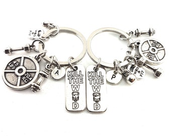 Couple Keyring Kill the WOD  & Weight Plate 45lbs+25lbs Workout.Fitness,Crossfit,Couples Gift,Bodybuilding,Fitness,Gym Partner,BFF Gift,Wod