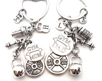 Couple Keychain Gym Mom Gym Dad & Weight Plate 45lbs+25lbs Shaker Protein,Kettlebell,Fitness Jewelry,Gym Gift,Couples Gift,Bodybuilding,Wod