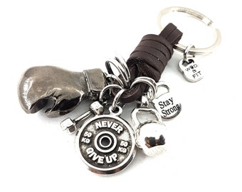 Boxing Glove Brown Leather Keychain Boxing Challenge,Motivation,Dumbbell,Initial.Coach Gift,Boxing jewelry,Boxing Gift,UFC,MMA,Wod and Fit