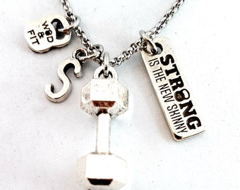 Dumbbell Workout Necklace Motivation & Initial Letter.Fitness Sport,Kettlebell,Weightlifting,Bodybuilding Jewelry,Barbell,Crosstraining Wod
