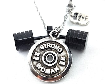 Necklace Strongman Workout Black Barbell & FitPlate Motivational Word Bodybuilding,Gym Gifts,FitnesJewelry,Crosstraining,Coach Gift,WodandFi