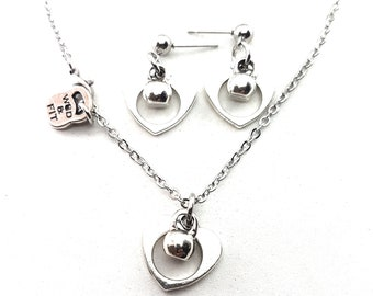 Fitness Necklace Kettlebell Heart I Love Kettlebell - Fit Girl - Fit Mom - Sister Gifts -Kettlebell Earrings- Fitness Jewelry Set- Wod & Fit