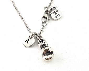 Boxing Glove Necklace Boxing Gifts with Initial - Boxing Glove pendant - Boxing Love Gift - Boxing Fan - Initial Gift -Wod & Fit