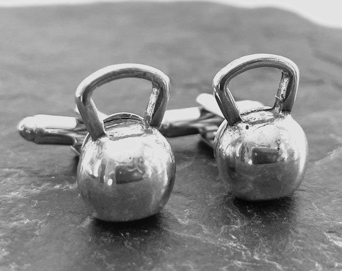 Featured listing image: Kettlebell Cufflinks.Fitness Jewelry Coach Gift,Motivational,Bodybuilding,Gym,Dad Gift,Father Gift,Bodybuilder,Sport Cufflink,Wedding Crossf