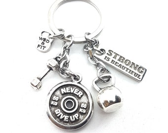 Keychain Fran FitPlate Workout Motivational Weight Plate,Kettlebell,Dumbbell & Motivation.Bodybuilding,Fitness Jewelry,Crossfit Jewels,Gym