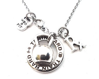 Gym Gift Fitness Necklace Kettlebell - Gym Gift - workout gifts- Crossfit Gift - Gym Gift - Fitness jewelry- gym gifts for her -athlete gift