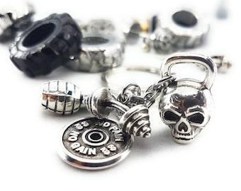 Keychain Brutal Workout Skull Kettlebell,Motivational FitPlate - Hand Grenade Bodybuilding - Bodybuilding - Crossfit - Gym Gift - Fitness