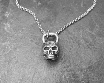 Kettlebell Skull Necklace Workout,Fitness Gift,Bodybuilding,Skull Gift,Skull Accessories,Workout Jewelry,Gym Gifts,Skulls,Motivational Gifts