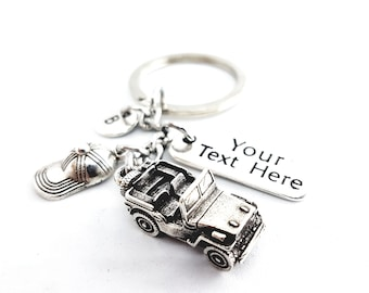 Keychain Willys Custom Tag Cap and initial - Wrangler -Off Road Lovers- Willys Jeep Gift- Jeep Girl Gift - 4x4 Offroad Rubicon - JL -JK