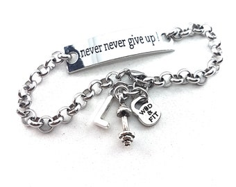 Never Never Give Up!Bracelet,Barbell & Initial.Fitness Jewelry,Gym Gift,CrossFit Gift,Motivational Gift,Bodybuilder Gift,Gym Jewels,Wod Fit
