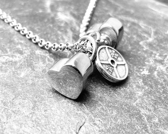 Gym Girl Necklace Heart Dumbbell Fitness gift - gym life - Exercise gift - Gym gifts - Workout Gift - Girl power -Fit girl gifts - Wod & Fit