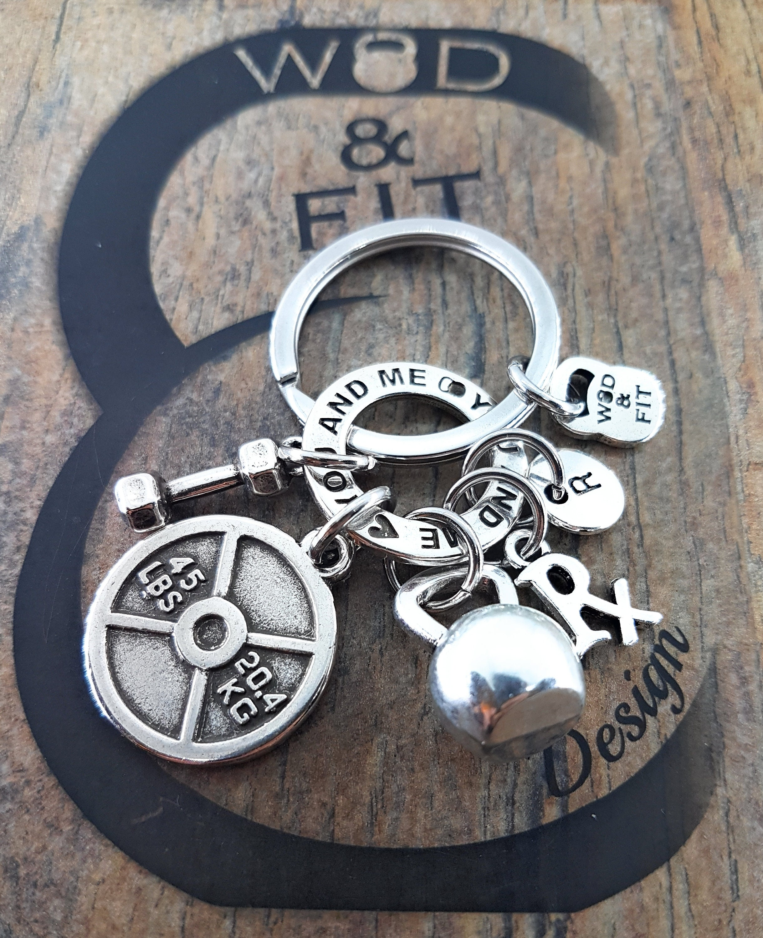 Couple Keychain You and Me Workout Kettlebell, Weight plate