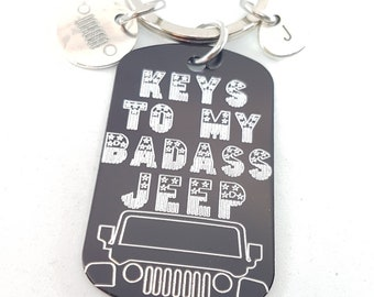 Keychain Keys To My BADASS 4x4 Jeep Stars & Stripes Gift - Wrangler Accessories - Jeep Gifts For Her - Custom Jeep Wrangler - Love Offroad