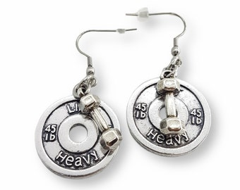 Gym Earrings Lift Heavy Weight Plate 45lbs & Dumbbell- Pendientes Fitness - Weight Lifting - Barbell Earrings - Crossfit Girl - Bodybuilding