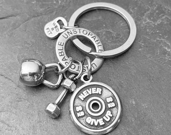 Keychain AMRAP Workout Gift Kettlebell - Fitness Key Ring - Body building - Gym Motivation - Personal Trainer Gift- Crossfit Gift -Wod & Fit