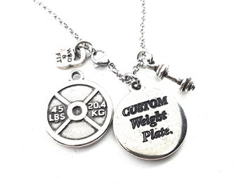 Custom Necklace Gym Gift Weight Plate 45lbs. Custom Gift - Weight Lifting Gift - Custom Weight Plate -Trainer Gift - Fitness Gift -Wod & Fit