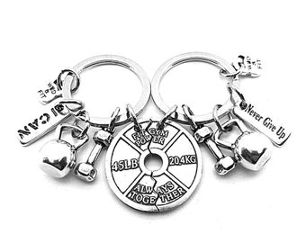Gym Gift Couples keychain Weight Plate Always Together Motivational gift - fitness gifts - BFF Gift - Weight Lifter - gift for couple- Sport