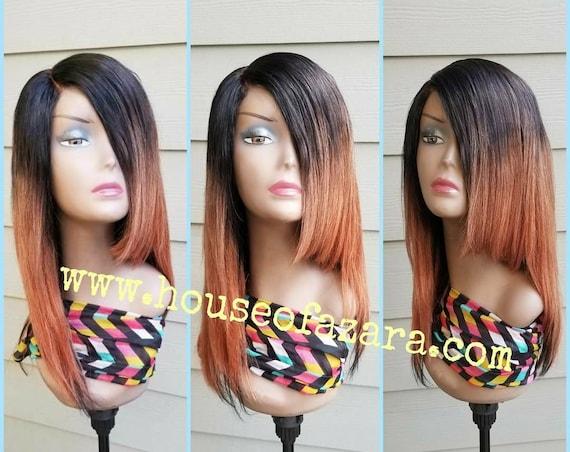 CUSTOM ORDER: Ombre 100% Brazilian Virgin Hair Lace Closure Wig, 1B/30