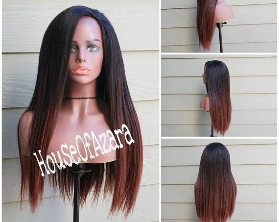READY TO SHIP: Pressed/Relaxed 100% Yaki Human Hair U-Part Wig, 20 inches