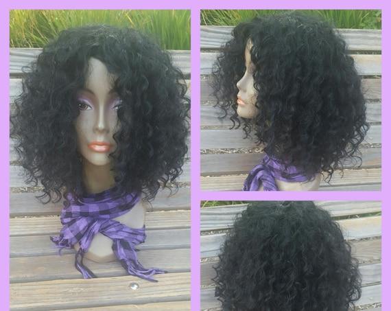 CUSTOM ORDER: Human Hair Blend Kinky Deep Wave Full Wig