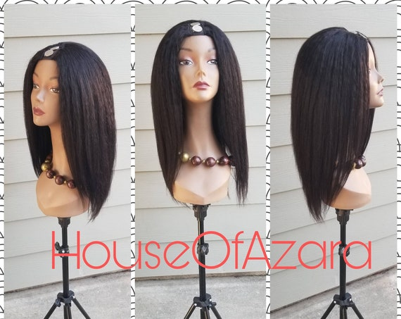 CUSTOM ORDER: 100% Human Hair Brazilian Kinky Straight Upart Wig (unstyled), 18 inches