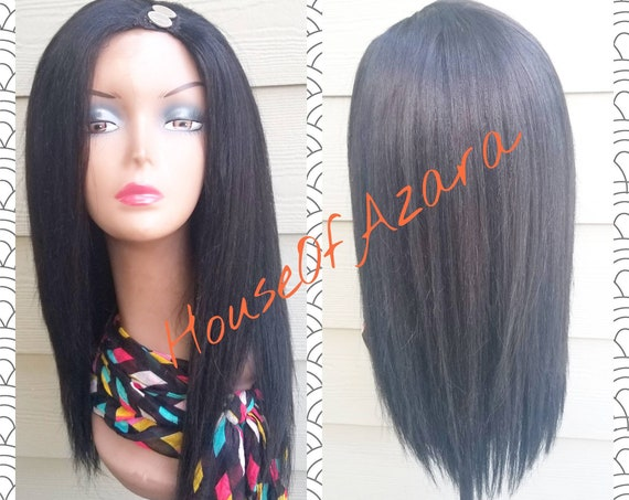 CUSTOM ORDER: Yaki Human Hair U-Part Wig, Color 1B, 14-16 inches (small leave-out!!)