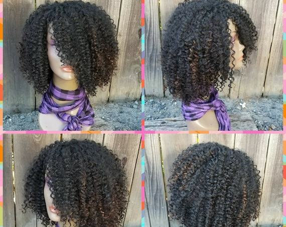 CUSTOM ORDER: Human Hair Blend, Non-Lace, High Density, Kinky Curly Full Wig, 1B