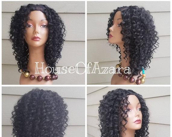 CUSTOM ORDER: Human Hair Blend, Deep Wave Upart Wig, minimal leave-out