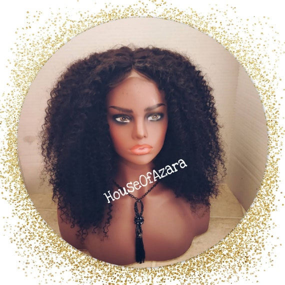 CUSTOM ORDER: 100% Kinky Curly Human Hair Lace Closure Unit, 18 inches