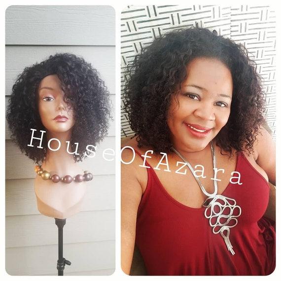 CUSTOM ORDER: Kinky Curly 100% Human Hair Half Wig, 10-12 inches, Natural Color