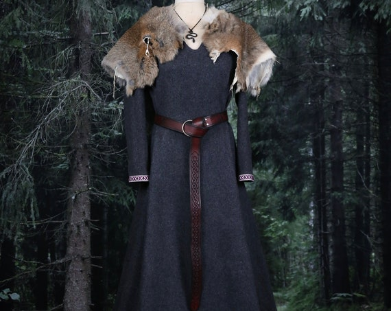 Wool Viking Dress with trim and wide side panels. Perfect garb for Norse, SCA and LARP Reenactment