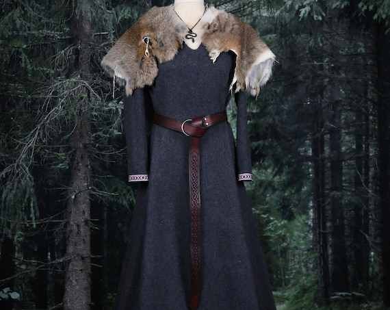 New! Wool Viking Dress with trim and wide side panels. Perfect garb for Norse, SCA and LARP Reenactment