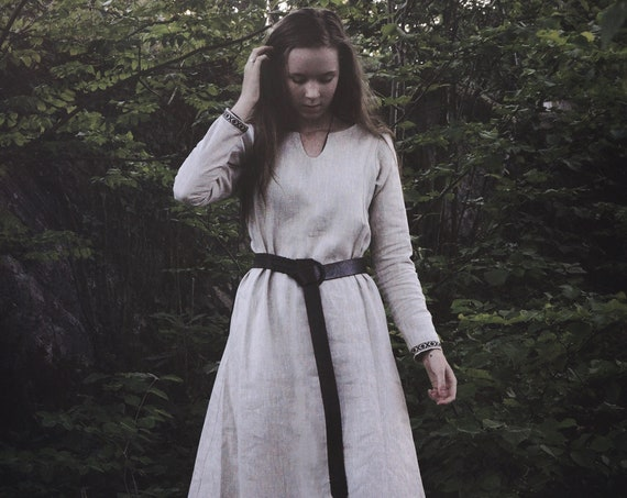 New! Linen Viking Dress with Trim and Wide Side Panels Garb Serk Norse SCA LARP Knotwork Trim Celtic Slavic Renaissance Reenactment Midgaarb