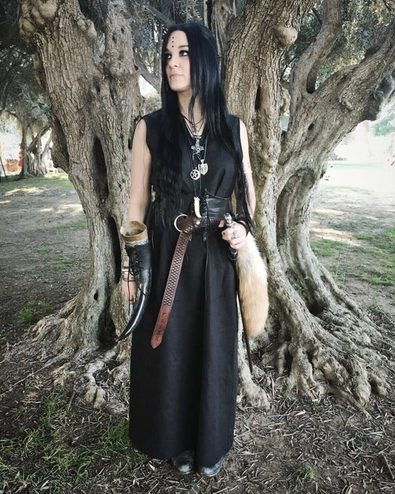 Linen Viking Sleeveless Dress. Perfect garb for Norse, SCA and LARP Reenactment