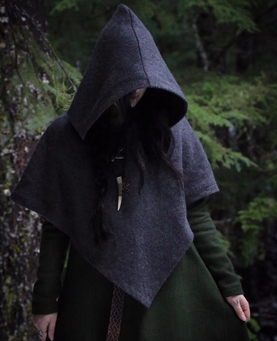 Viking Hooded Shawl Skjoldehamn Hood. Poncho, capelet style. Perfect garb for Norse, SCA and LARP Reenactment