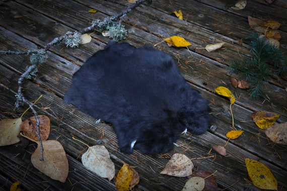 Real Fur Rabbit Pelt, Dark Gray Natural undyed Cruelty Free, Taxidermy, Leather