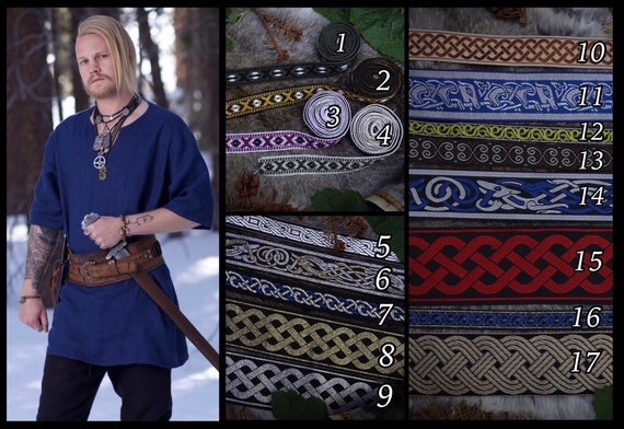 Linen Viking Tunic with various trim options. Perfect garb for Norse, SCA and LARP Reenactment