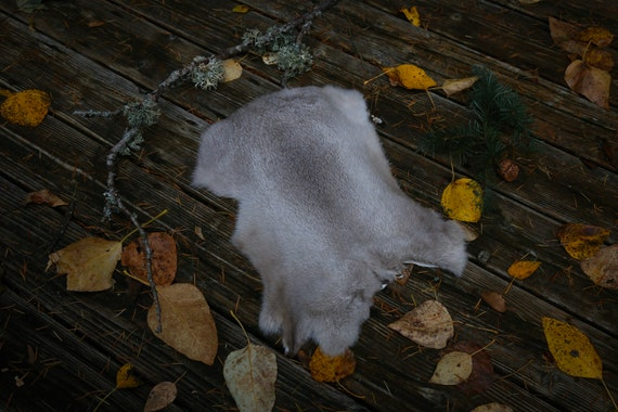 Real Fur Rabbit Pelt, Gray White Natural Cruelty Free, Taxidermy, Leather, Viking, Norse