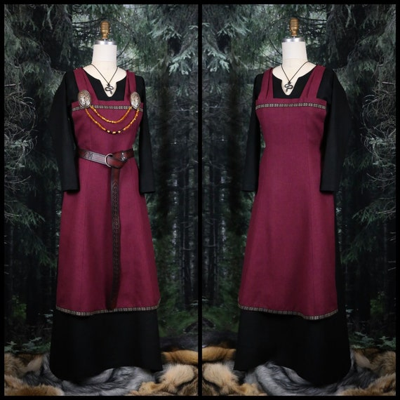 Viking linen Hangerock Apron Dress with trim. Perfect garb for Norse, SCA and LARP Reenactment
