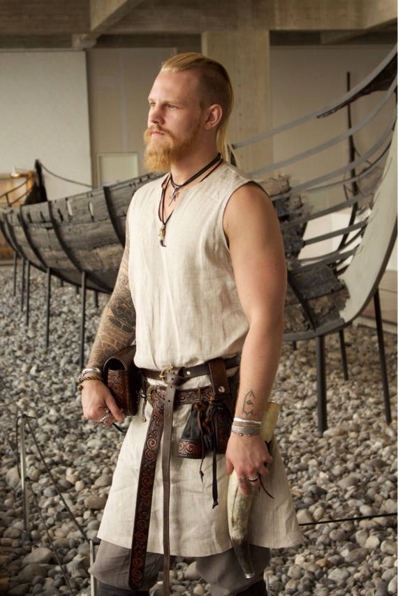 Linen Viking Sleeveless Tunic. Perfect garb for Norse, SCA and LARP Reenactment