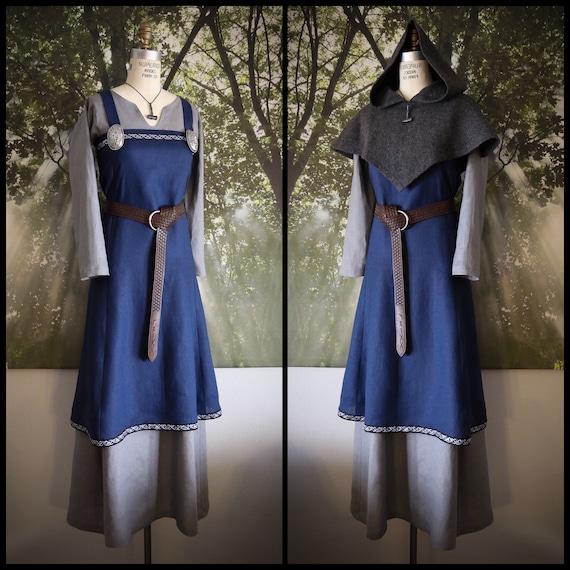 Viking Hangerock Apron Dress, Linen, Garb, Serk, Norse, SCA, HEMA, LARP knotwork trim Celtic Slavic Renaissance, Reenactment