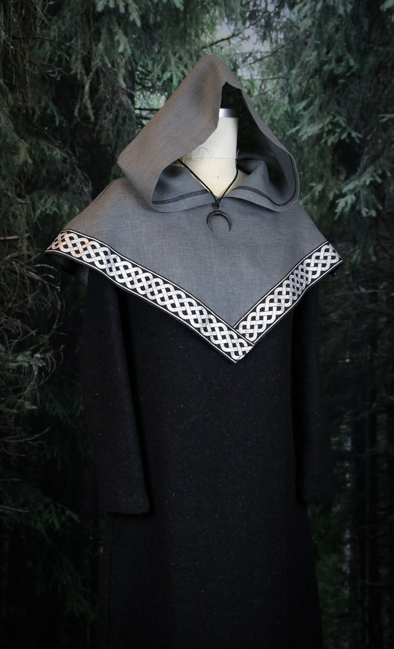 Viking Linen Skjoldehamn Archer Hood with trim. Perfect garb for Norse, SCA and LARP Reenactment